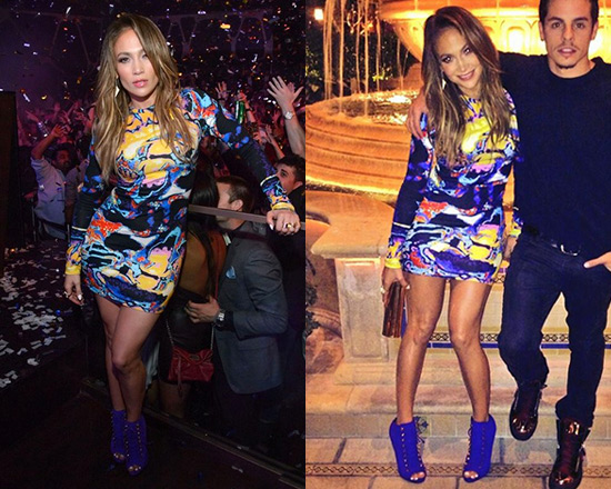 Jennifer Lopez in Christopher Kane Brain Scan Print Viscose Jersey Dress