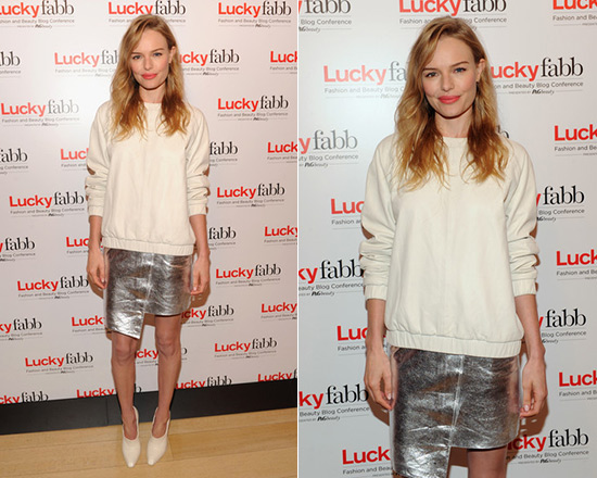 Kate Bosworth in Topshop Leather Sweat Top and Foil Wrap Skirt