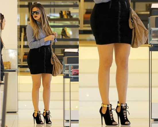 Khloe Kardashian shows off her legs in Alexander Wang paneled mini pencil skirt
