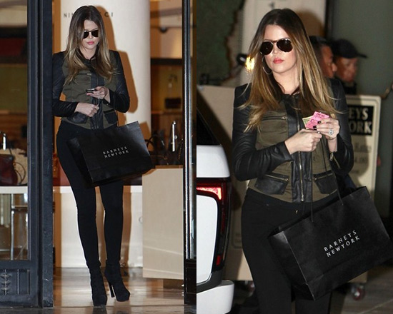 Khloe Kardashian goes shopping in Georgie Exclusive Jasper Combo Army Jacket