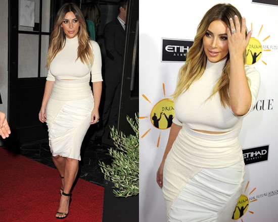 Kim Kardashian hits red carpet in Nina Ricci Ruched Asymmetric Pencil Skirt