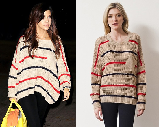 Kourtney Kardashian in d.RA Audrey Sweater in Taupe