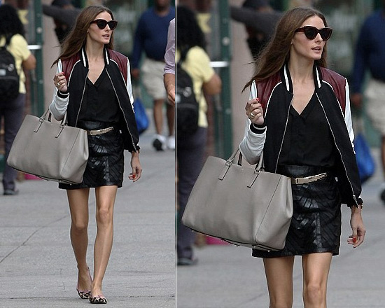 Olivia Palermo in Juicy Couture Hive & Honey Varsity Colorblock Jacket