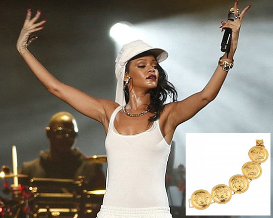 Rihanna performs in Abu Dhabi wearing Vintage Gianni Versace Bracelet