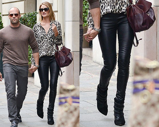 Rosie Huntington Whiteley steps out in leopard L'agence Button Down Blouse