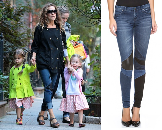 Sarah Jessica Parker in Current/elliott The Infantry Jacket and Blank denim Patchwork Skinny Jeans