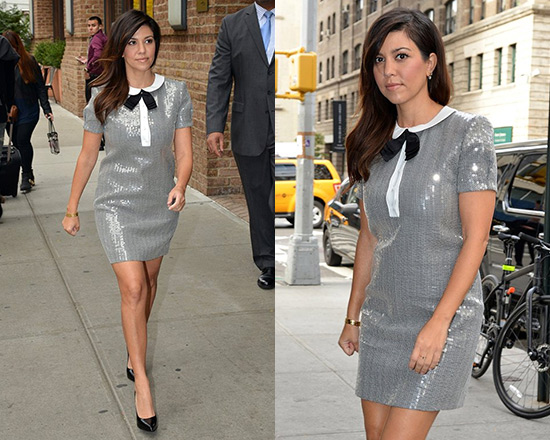 Kourtney Kardashian Saint Laurent Sequined Peter Pan Collar Dress
