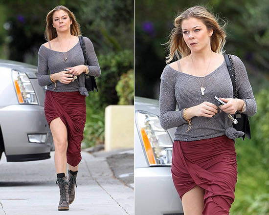 LeAnn Rimes goes shopping in Helmut Lang Jersey Wrap Skirt