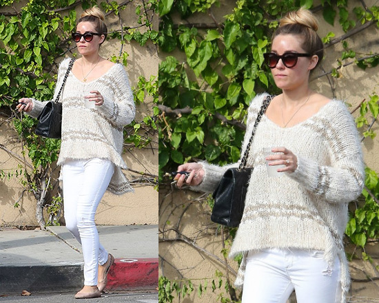 Lauren Conrad steps out in Free People Linus Stripe Pullover Sweater