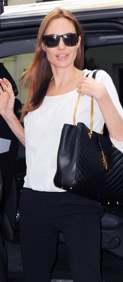 Angelina Jolie Saint Laurent Square Metal Trim Sunglasses