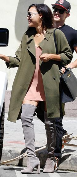 Naya-Rivera-Topshop-Petite-duster-coat