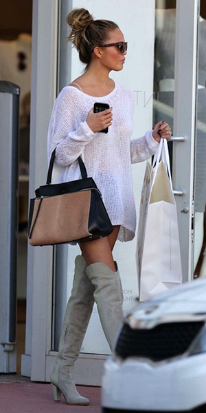 chrissy-teigen-Celine-Medium-Edge-Bag-chloe-suede-boots