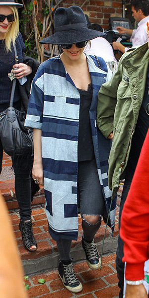 Ashlee Simpson Style - ASOS WHITE Denim Printed Panelled Coat, Golden Goose sneakers
