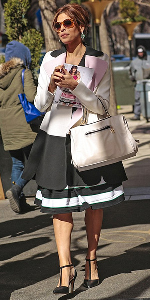 Eva Mendes in Giambattista Valli Tri Tone Scallop Hem Coat and New York & Company Striped Maddie Skirt - March 2015