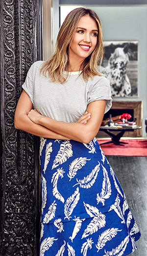 Jessica Alba in a Laveer Feather Printed A-Line Skirt for Domaine Home tour - March 2015