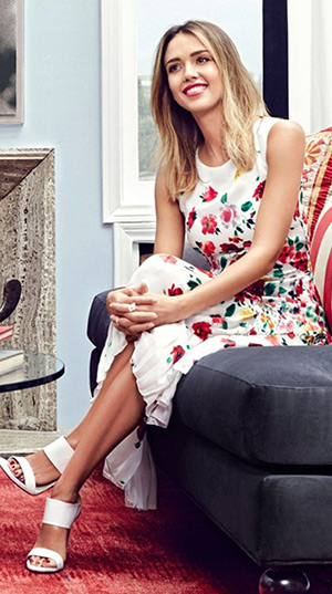 Jessica Alba for Domaine Home in a Oscar de la Renta Floral-Print Darted A-Line Dress and Stuart Weitzman The Myslide Sandals