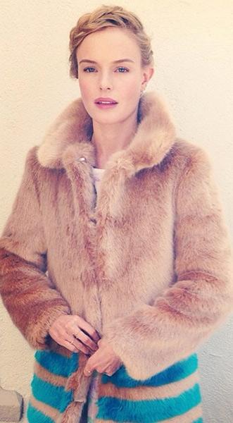 Kate Bosworth winter fashion - Shrimps Dulcie faux-fur coat