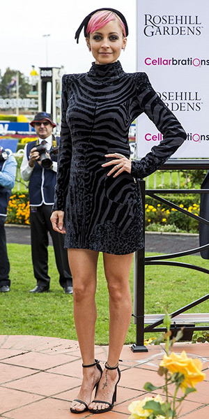 Nicole Richie in Balmain Velvet mini dress and Saint Laurent Jane sandals at the International Golden Slipper Carnival in Sydney, Australia (March 21, 2015)
