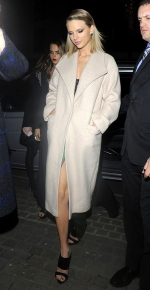 Taylor Swift in a ASOS coat going to a fundraiser in London