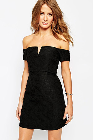 Millie Mackintosh Jacquard Dress with Off Shoulder