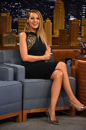 Blake Lively in a Antonio Berardi Embroidered Shoulder Color-Block Dress on The Tonight Show Starring Jimmy Fallon - April 21, 2015