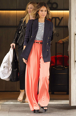 Jessica Alba leaving NYC hotel in a J.Crew Double-breasted schoolboy blazer , a A.L.C. Dale stripe top, Alice + Olivia Coral Wide Leg Trousers and Prada shoes - April 14, 2014