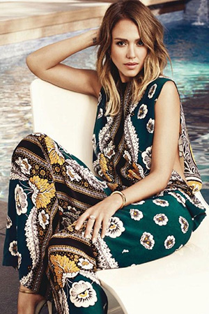 576ee691aaab Jessica Alba in a Valentino Printed Silk Crepe De Chine Jumpsuit for MORE  magazine May 2015