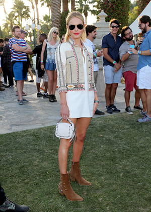 Kate Bosworth at Coachella 2015 in a Etro jacket, Kempner dress, Ray-Ban sunnies, a Coach bag and Kate Bosworth x Matisse Charlotte boots - April 11, 2015