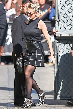 Scarlett Johansson arriving at Jimmy Kimmel studios in Hollywood wearing a pair of Sophia Webster Open Toe Riko High Heels - April 20, 2015
