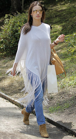 Alessandra Ambrosio running errands in a Minnie Rose Fringe Hankie Poncho, Michael Kors satchel and Saint Laurent Blake suede ankle boots - May 15, 2015