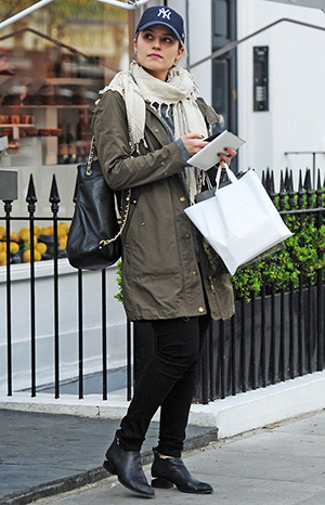 Dianna Agron, who recently moved from Los Angeles to London, is seen leaving her new Notting Hill home in a pair of Alexander Wang Kori Cutout-heel Ankle Boots on May 26, 2015 in London, England.