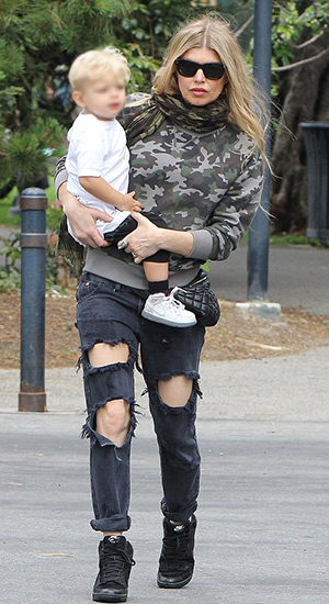 Fergie steps out with her son in a Saint Laurent Grey Camouflage Print Sweatshirt, Chanel waist bag, Celine sunglasses and Nike shoes - May 17, 2015