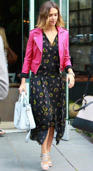 Jessica Alba steps out in a IRO Ashville Fuchsia Leather Moto Jacket and Kenzo Kalifornia Tote - May 7, 2015