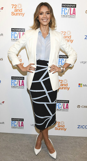 Jessica Alba at the Fast Company Hosts First-Ever LA Creativity Counter Conference in a Jonathan Simkhai Intarsia Knit Geometric-Print Pencil Skirt and white Jimmy Choo Anouk Leather Pumps - May 7, 2015