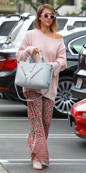 Jessica Alba steps out in Sunday Somewhere sunglasses, a Rag & Bone Valentina cashmere sweater, a THE GREAT. The Opera Skirt and a Kenzo Kalifornia tote - May 8, 2015