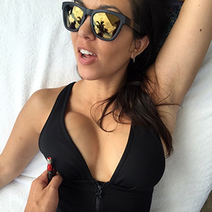 Adidas By Stella Mccartney classic swimsuit as seen on Kourtney Kardashian Instagram
