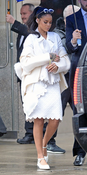 Rihanna steps out in head to toe Simone Rocha on March 14, 2015 in New York City.