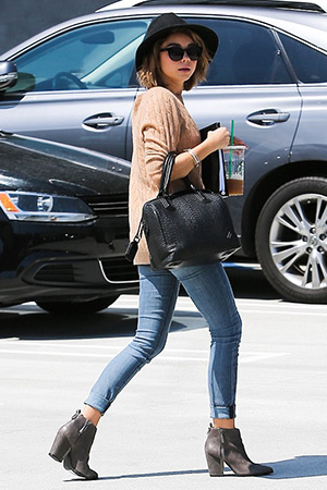 Sarah Hyland heads to a meeting in Santa Monica in Black Orchid Stella jeans and a pair of Acne pistol ankle boots - May 15, 2015