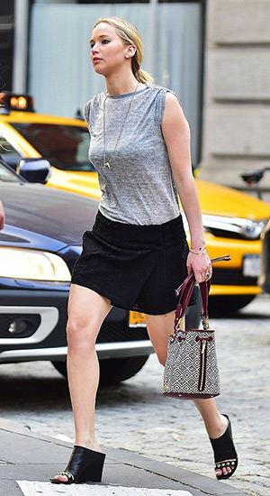 Jennifer Lawrence wears a Isabel Marant Dewey safety-pin T-shirt as she goes for a stroll in New York's Tribeca neighborhood on June 9, 2015.