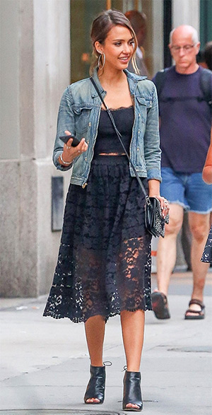 Jessica Alba is seen out and about in New York City in a NBD On My Mind Scalloped Edge Top and matching skirt on June 10, 2015.
