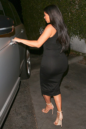 Kim Kardashian leaving Dior in a Torn by Ronny Kobo Thiadora Ponte Midi Dress after doing some late night shopping in Beverly Hills, CA on June 18, 2015.