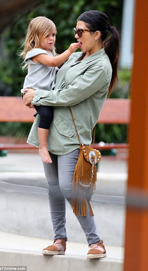 Kourtney Kardashian enjoys a day out with her family in Aquazzura Belgravia suede espadrilles on May 31, 2015 in Malibu, CA.