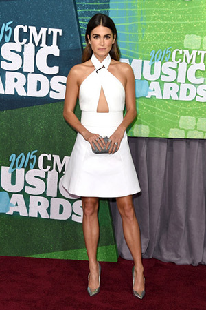 Nikki Reed in a Kaufman Franco Leather Bodice Dress at the 2015 CMT Music awards on June 10, 2015 in Nashville, Tennessee.