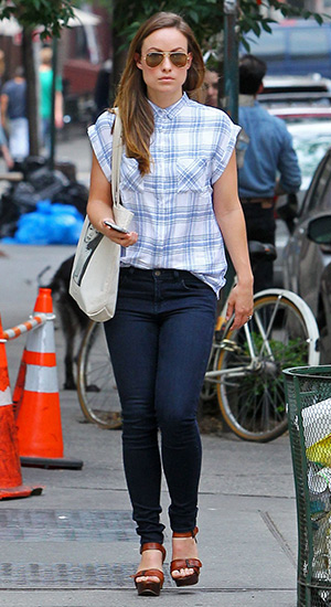 Olivia Wilde going to lunch in a Rails Britt Cap-Sleeve Woven Plaid Shirt at Cafe Cluny in New York City on June 11, 2015.