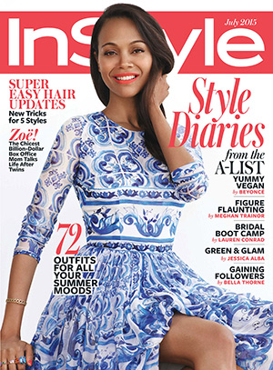 Zoe Saldana graces the cover of InStyle Magazine's July 2015 issue in a Dolce & Gabbana Printed silk dress.