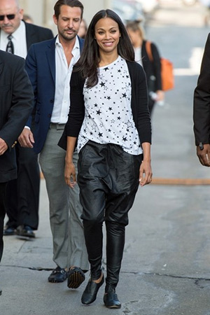 Zoe Saldana wearing a Saint Laurent 'Superstar' T-shirt upon arriving at the 'Jimmy Kimmel Live' studios in Los Angeles, CA on June 11, 2015.
