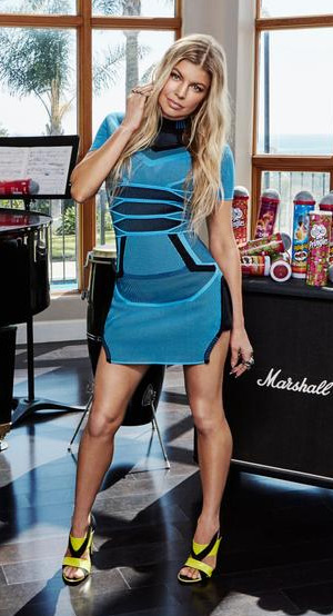 Fergie in a Alexander Wang Bi Color Mesh Tee Dress for promotional shot for the new Pringles Karaoke Kit.