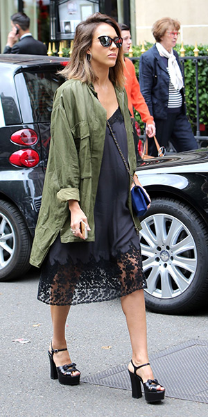 Jessica Alba goes shopping in Paris, France on July 8, 2015 in a The Great Slip Dress, Rebecca Minkoff Beckals Jacket and Saint Laurent Candy sandals.