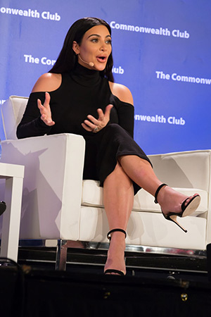 Kim Kardashian wearing a Balmain Open Shoulder Wool Knit Dress while speaking at the Commonwealth Club's interview series 'Inforum' in San Francisco, CA on June 30, 2015.
