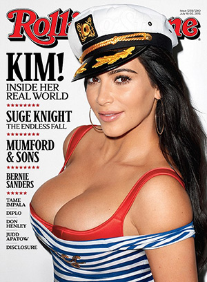 Kim Kardashian in a L'Agent By Agent Provocateur Danita Padded Demi Bra on the cover of Rolling Stone magazine, July 16 2015.